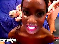 Gorgeous ebony babe Zara and her slutty friends