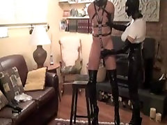 Amateur Mistress bends him over, jerks him and fucks him hard with StrapOn