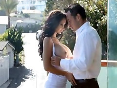 Beautiful big tits francaise gode ceinture gets a surprise visit by her stepson