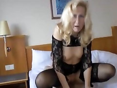 Mature slut in stockings fucks young boy she met on MilfHoookup.com