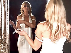Stunning smoker Luci crossdresser latex menthol 100s in front of the mirror