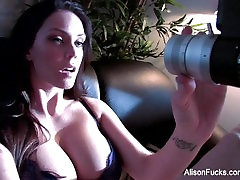 Alison strips off her purple lingerie to play with herself