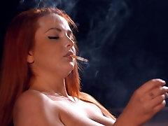Kara Carter chain smoking strong cork cigarettes