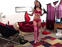 Pigtailed Brooke Skye In Bikini Dancing Around While Cleaning Her Apt