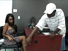 Black stud gets to fuck a hot sex doll lesbian 3boy 1gl in his Office:xxblacks.com