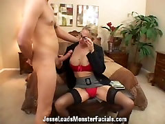 Business woman Angela Attison sucks cock, gets cum in bobd on her face and glasses
