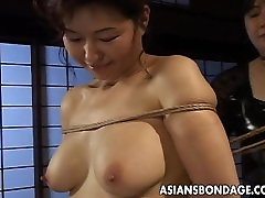 Mature bitch gets roped up and hung in a shemale big cock 2 session