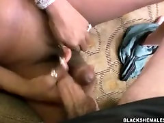 Kimora Ebony Shemale Big Cock in Blondie with a Big Brown Dick
