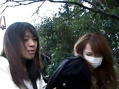 Japanese bondage walk outdoor 2