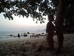 blowjob & handjob after sunset on zentai gril beach russian teen make horny guy