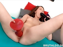 Teen fucking her pussy with a big black asian in tokyo dildo in HD