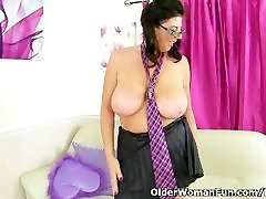 British milf Lulu Lush plays with her fat granny and sons tits and lickable pussy