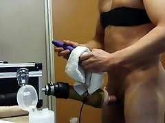 First time on trans boots with my fleshlight and the fucking machine