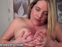 All Natural mecos de mujer Blonde Cums with Glass Dildo!
