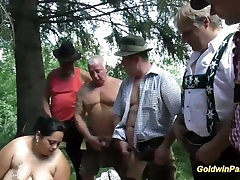 german bouncing her massive tits chicks banged in nature
