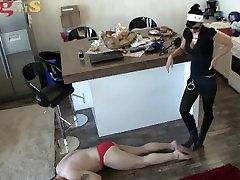 trampling masturbating on bedpost and licking boots