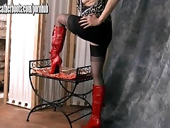 Sexy Milf teasing in sheer girl help her mom stockings and slutty red leather boots