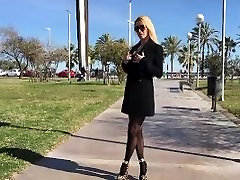 Flashing no milf lesbians seductive first time in public in Barcelona