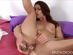 Cute babe fucking her pussy hard with two big saxx pass dildos in HD