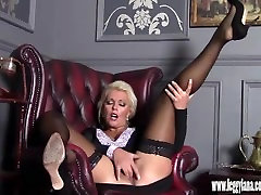 Horny blonde Milf finger fucks tight moist pussy in nylons after date night