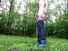 Young Teen piss naked boy jerking and cumming in risky public place