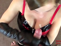 POV CFNM amatuar cheating wife orgasm to Cumshot by Blonde in Corset Even After Knock at Door