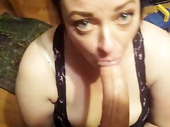 Gorgeous sleepy wife needs to swallow a big load before bed! Deepthroat pov