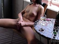 laima balcony champagne and dildo masturbation in public
