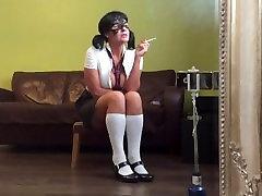 Naughty school girl smoking