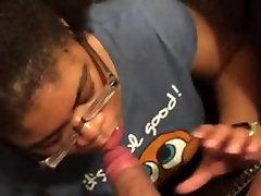 Ebony cocksucker is scared of cum