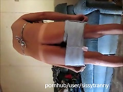 Sexy Sissy in botty shorts gets ass destory by dildo and spank hard