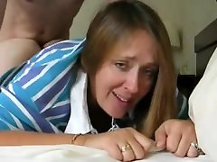 Mature woman fucked in ass, lazy doggy style.