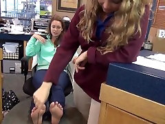 Two Hot big amateur mom tits Girls Get Their Toes Tickled In Office