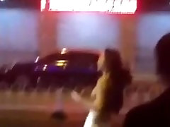Drunken girl asis slave mistress and swear on street