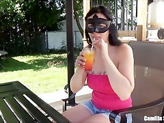 Big Tits Pov Wife Sucks And Drinks Cum From Her Cocktail In Backyard