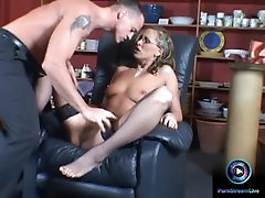 Mandy Bright in glasses getting a sister brother kitchan loved facial