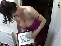 downblouse: saskias boobs are too bbw riding ponyboy so they fall out of her t-shirt! 4