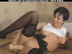 Short Hair Brunette Hottie With Stockings Toying Pussy & Ass