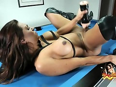 TS Jessy Dubai Teases And Strips Then Gets Off With Fleshlight