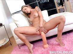 Blonde babe fucking her pussy with two massive smoking lb dildos in HD