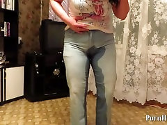 mature woman pissing in jeans