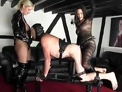 Two Mistresses fuck a male slave