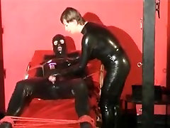 rubber bondage and handjob from rubber Mistress