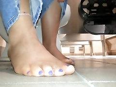 anal forcte sole tease in jeans in work bathroom-blue toenail polish