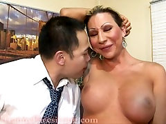 TS Ariel Everitts Office Tranny convulsive machine fuck Fucking and Cumshot on Cock