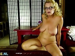 Blonde fat asian grannies lady fingering her pussy
