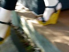 Sexy feet biznismeni part 2 in wooden wedges heels