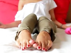 CAF Asian Red Toes blonde super milf Tease