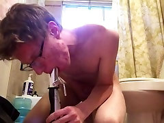 Cowgirling and deepthroating in bathroom