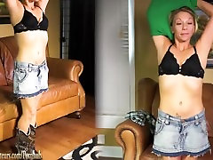 Amateur Mom Montana plays with cock on rekaman suami couch